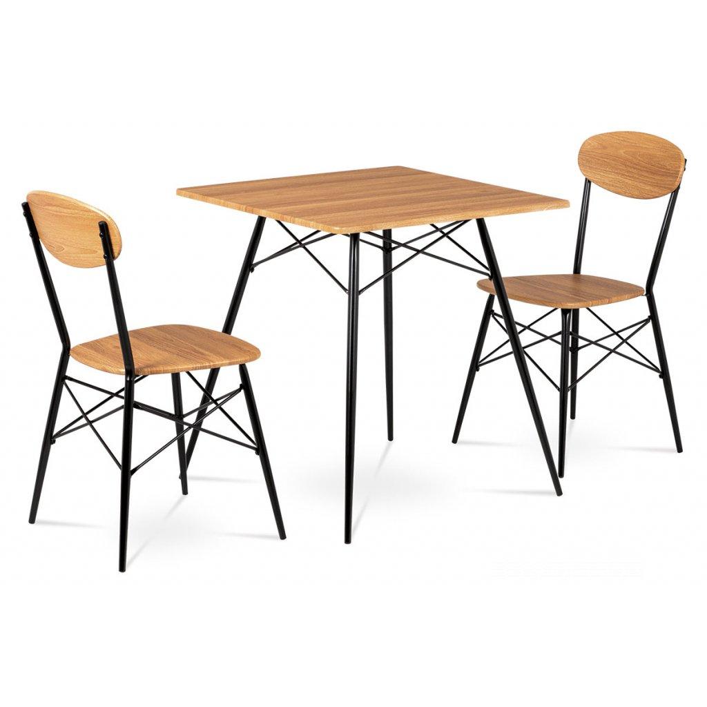 Jedálenský set (1+2), MDF dekor medový dub, kovové štvornohé podnože, čierny matný lak
