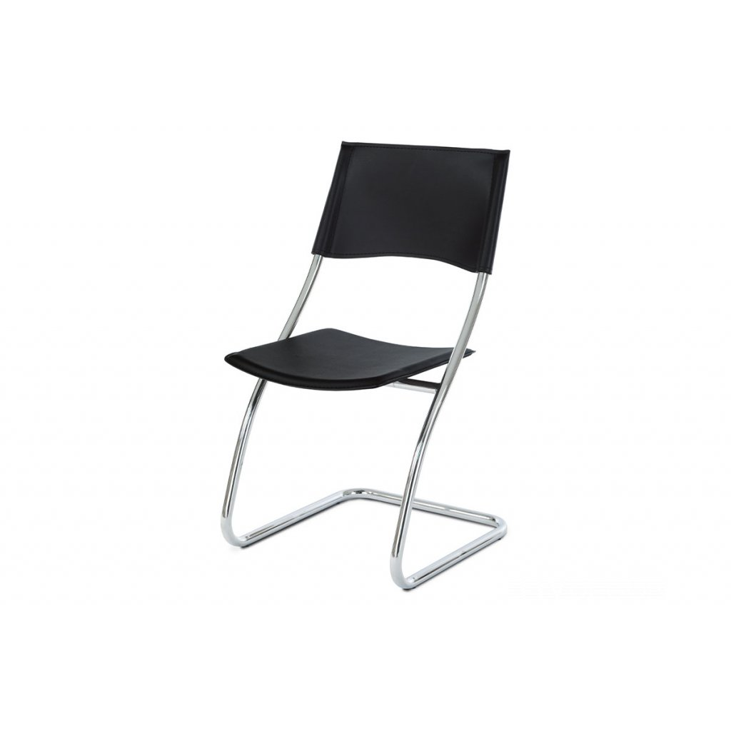 jedálenská stolička, koženka čierna, chróm