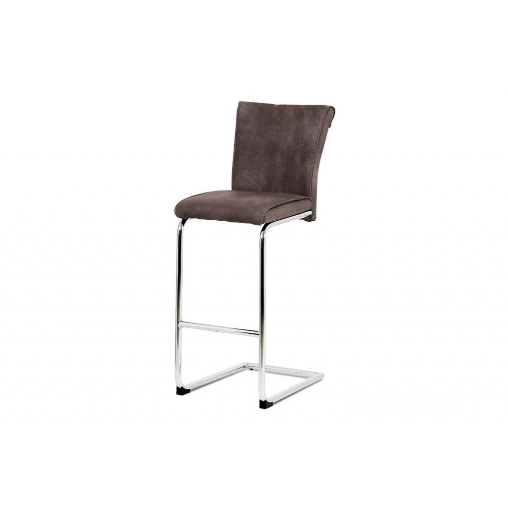 barová stolička, koženka hneda, chróm