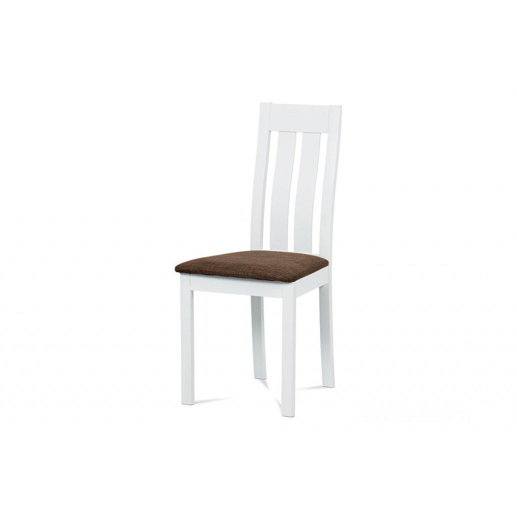 jedálenská stolička masív buk, biela, sedák hnedý