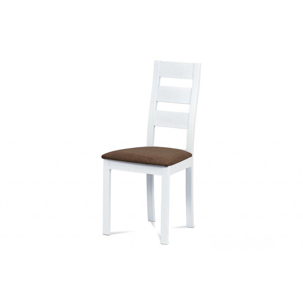 jedálenská stolička, masív biely, poťah hnedý