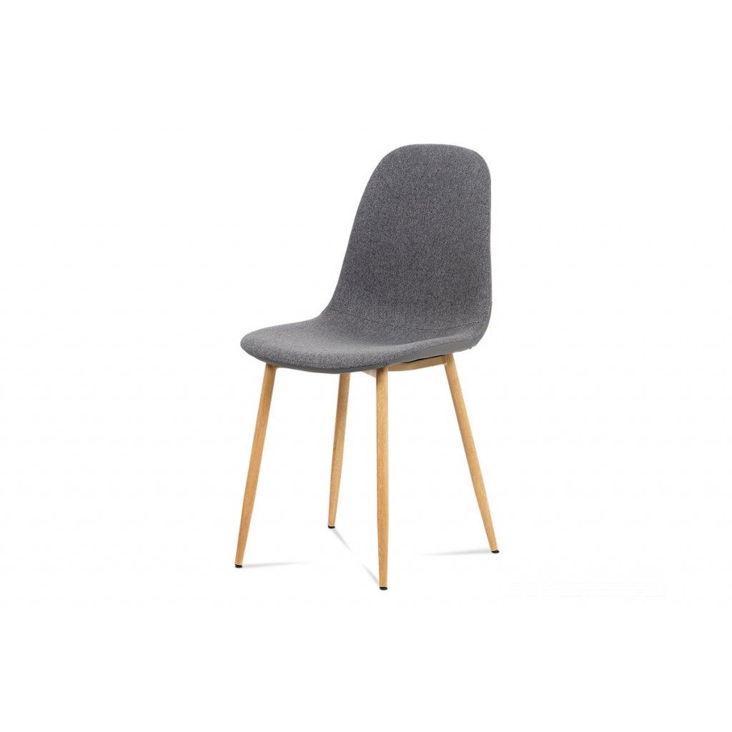jedálenská stolička, šedá látka-ekokoža, kov buk