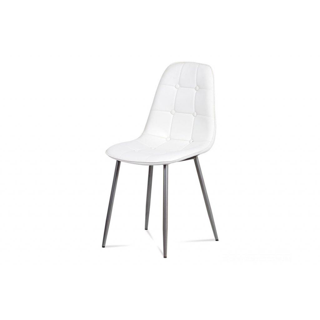 jedálenská stolička lakované kovové nohy/ sedák ekokoža biela