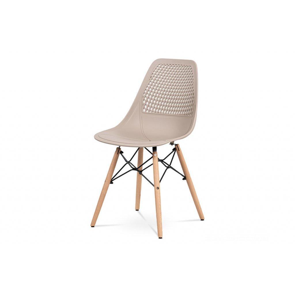 jedálenská stolička, cappuccino plast, masiv prírodný buk, kov čierny
