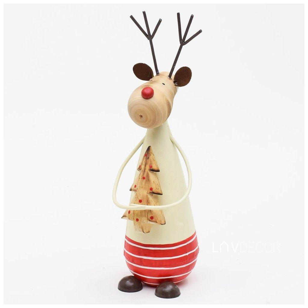 vianočná dekorácia JELEŇ Kovový Červeno krémový 22,5X7X6CM