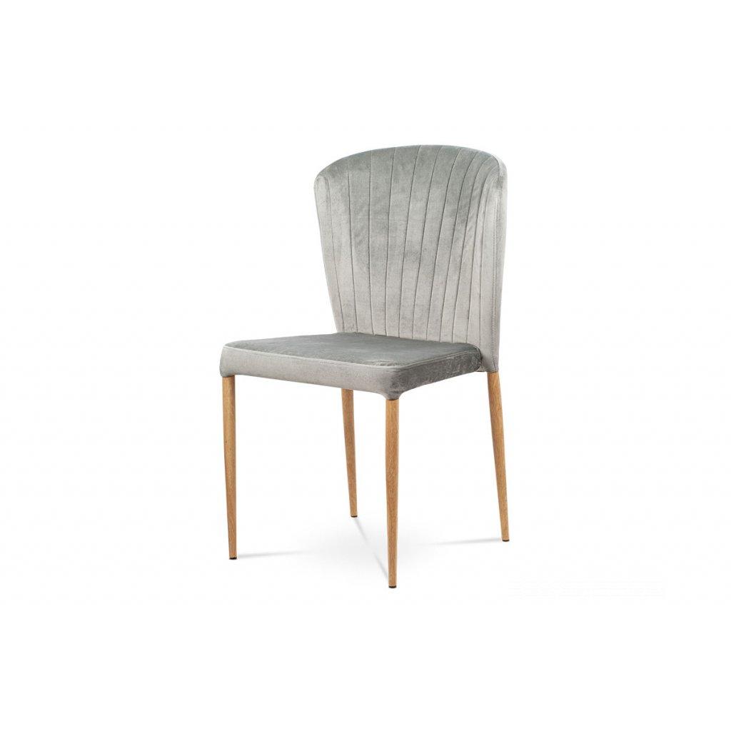 jedálenská stolička,sivá zamatová látka, kov. podnož, 3D dekor dub