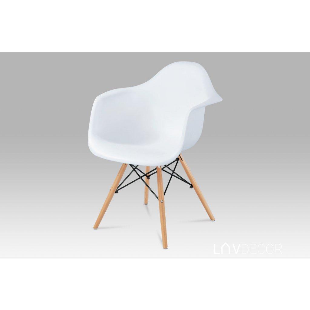 jedálenská stolička, biely plast, natural