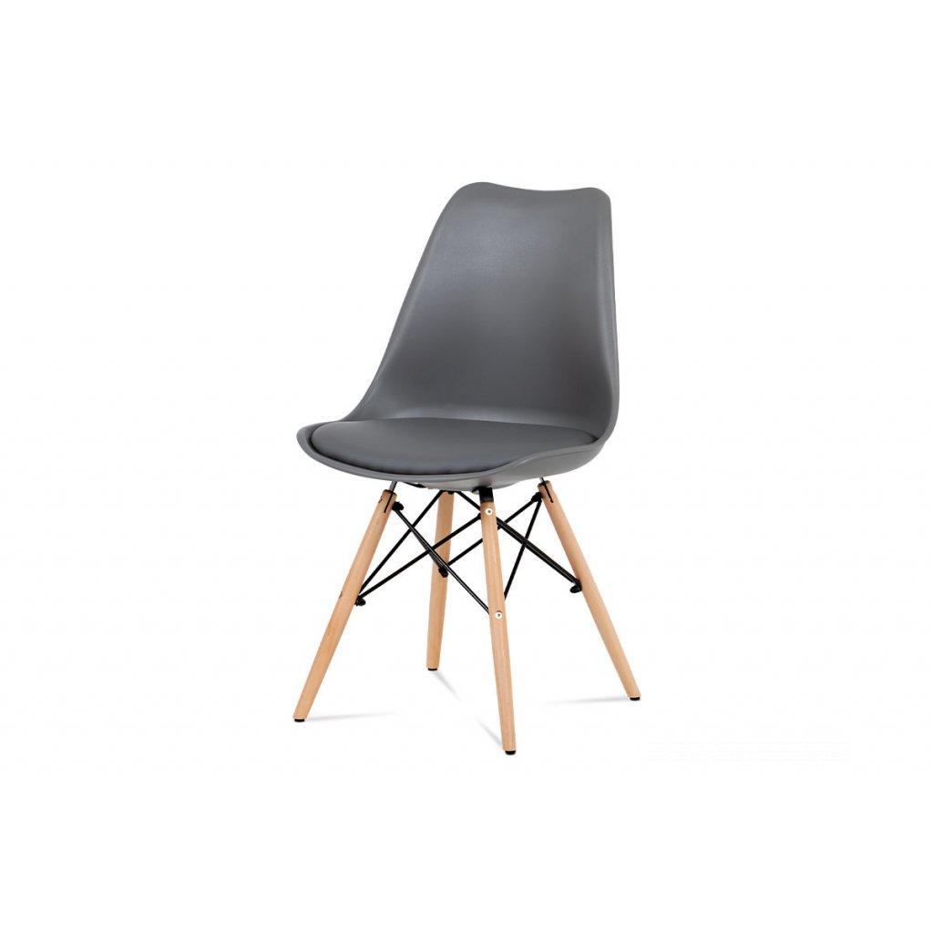 jedálenská stolička, plast sivý, buk