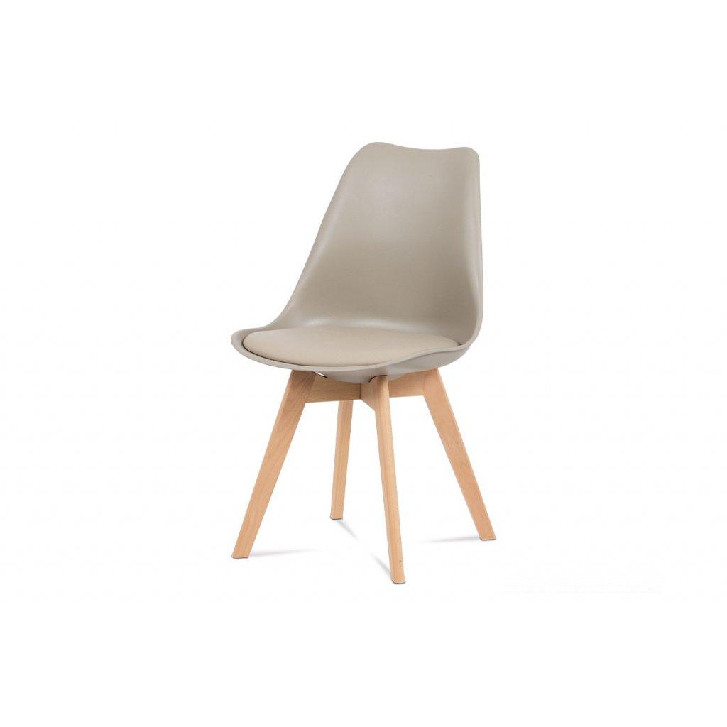 jedálenská stolička, plast latté / koženka latté / masív buk
