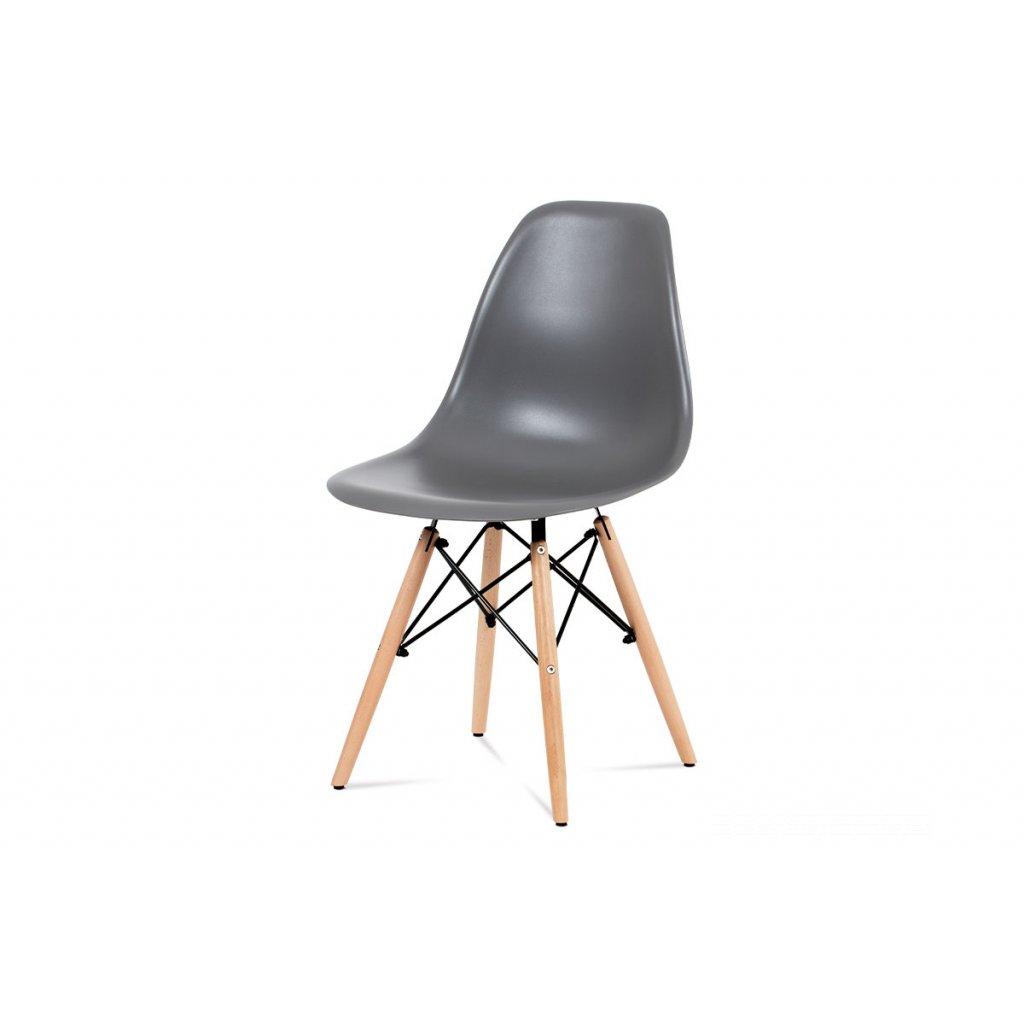 jedálenská stolička, plast sivý / masív buk / kov čierny