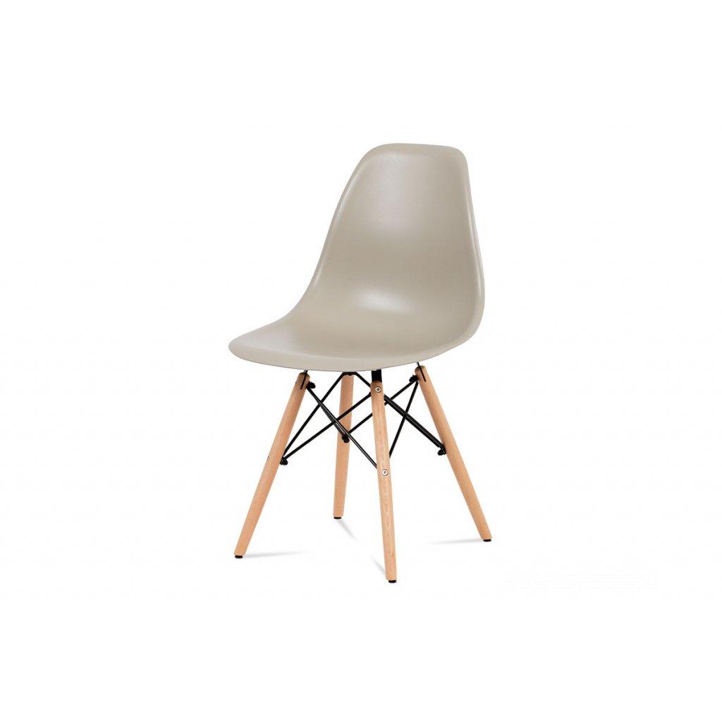 jedálenská stolička, plast latté / masív buk / kov čierny