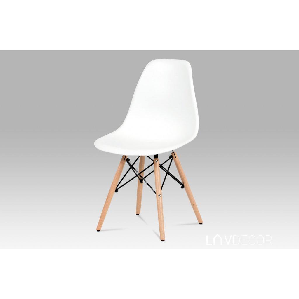 jedálenská stolička, plast biely / masív buk / kov čierny