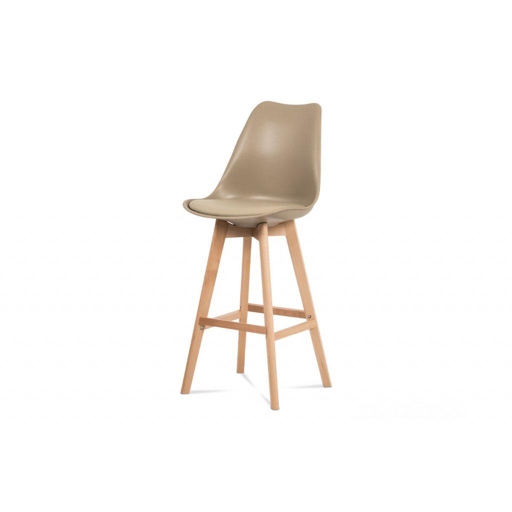 barová stolička plast, sedák kapučíno ekokoža/nohy masív prírodný buk