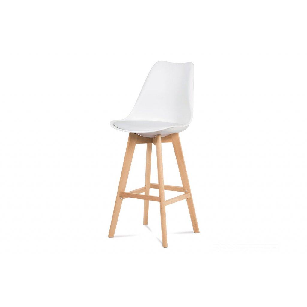 barová stolička plast, sedák biela ekokoža/nohy masív prírodný buk