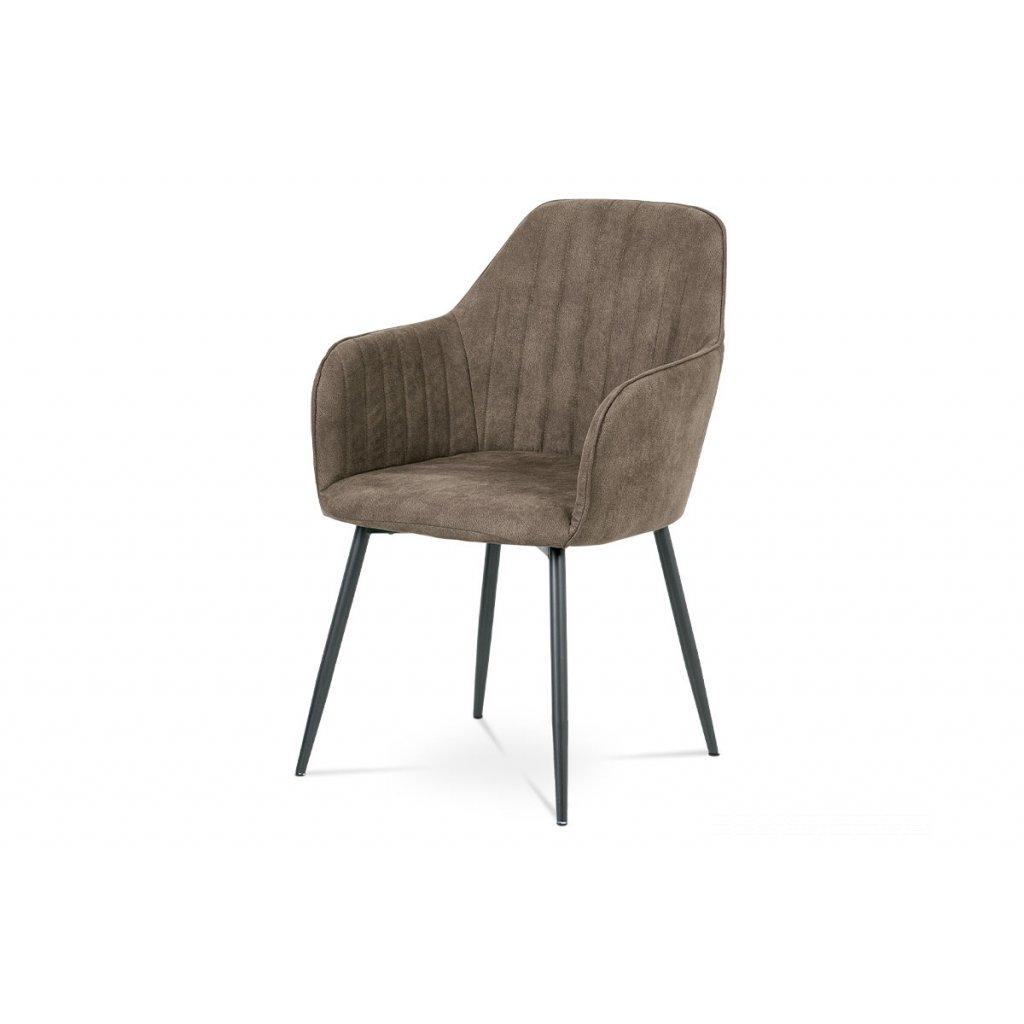 jedálenská stolička, hnedá látka, kov sivý mat