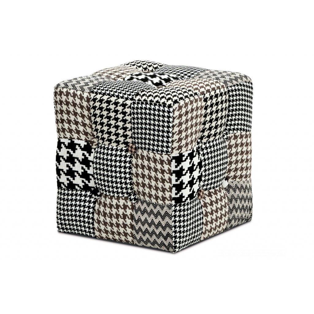 taburet kocka, látka čiernobiela patchwork, klzák plast
