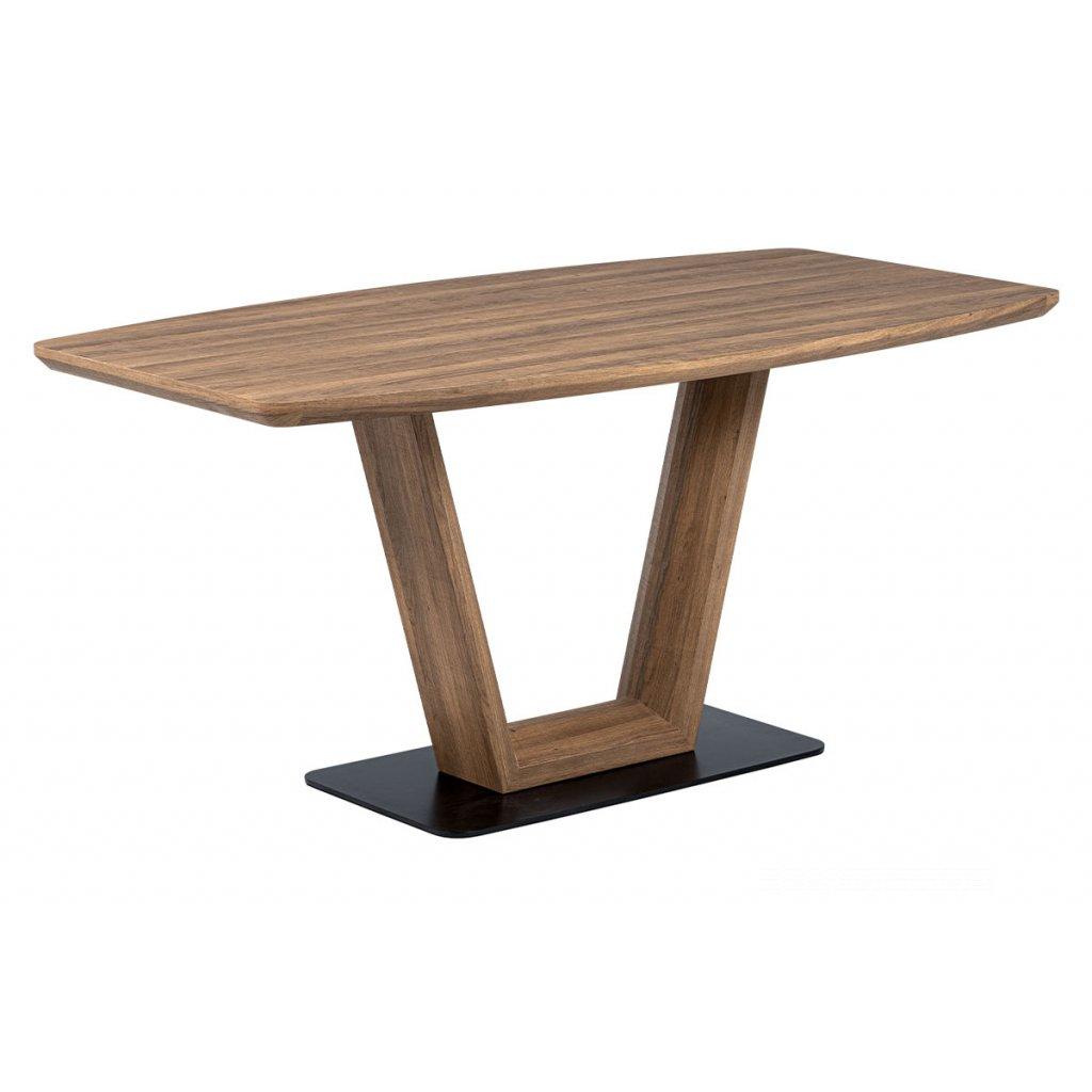 jedálenský stôl, 160x85x76, MDF 3D dekor tmavý dub, čierny kov