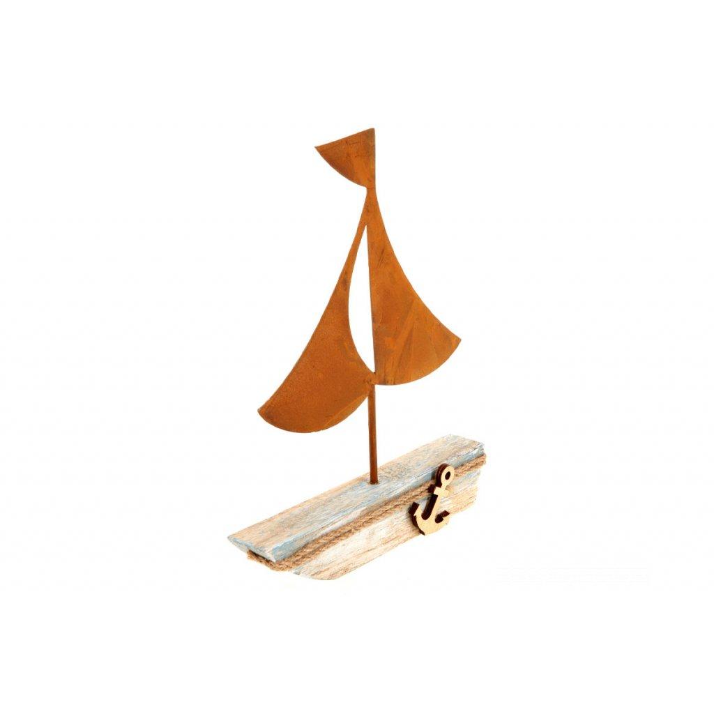 Loďka,drevená dekorácia 18,5x3x22,5 cm