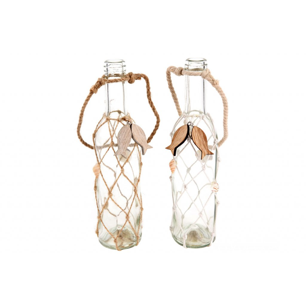 fľaška, sklenená dekorácia 6x26 cm
