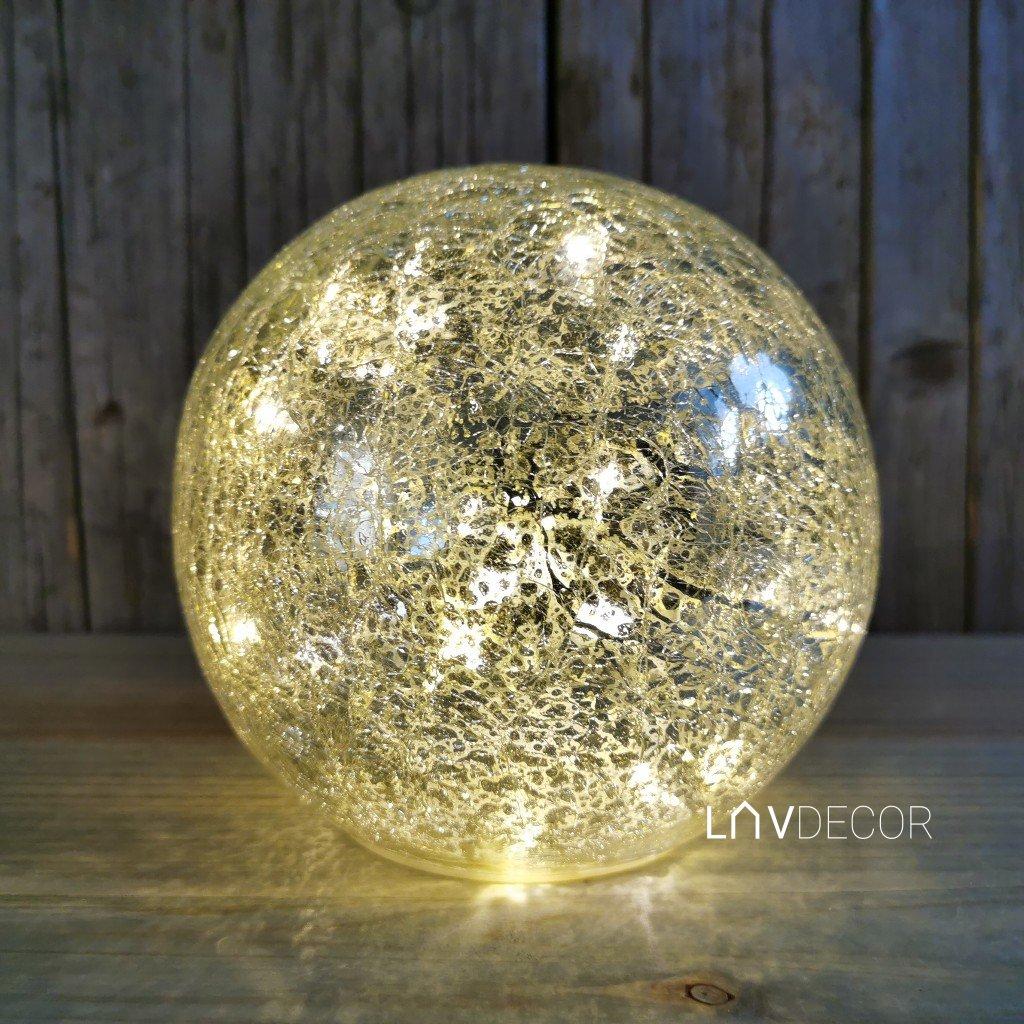 VIANOČNÁ GUĽA STRIEBORNÁ zlatá POPRASKANÁ SKLO LED tepla biela 15CM
