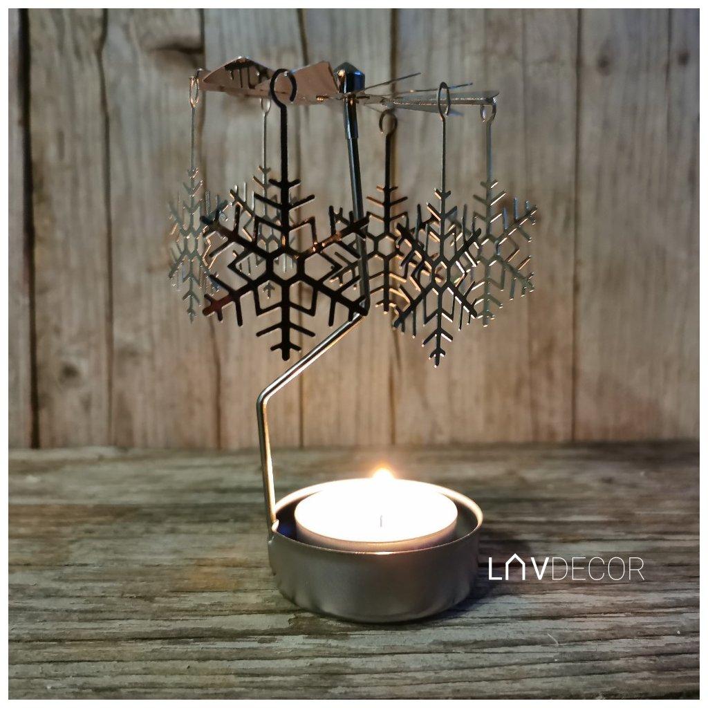 anjelské zvonenie na čajovú sviečku -vločka 9x12×9cm