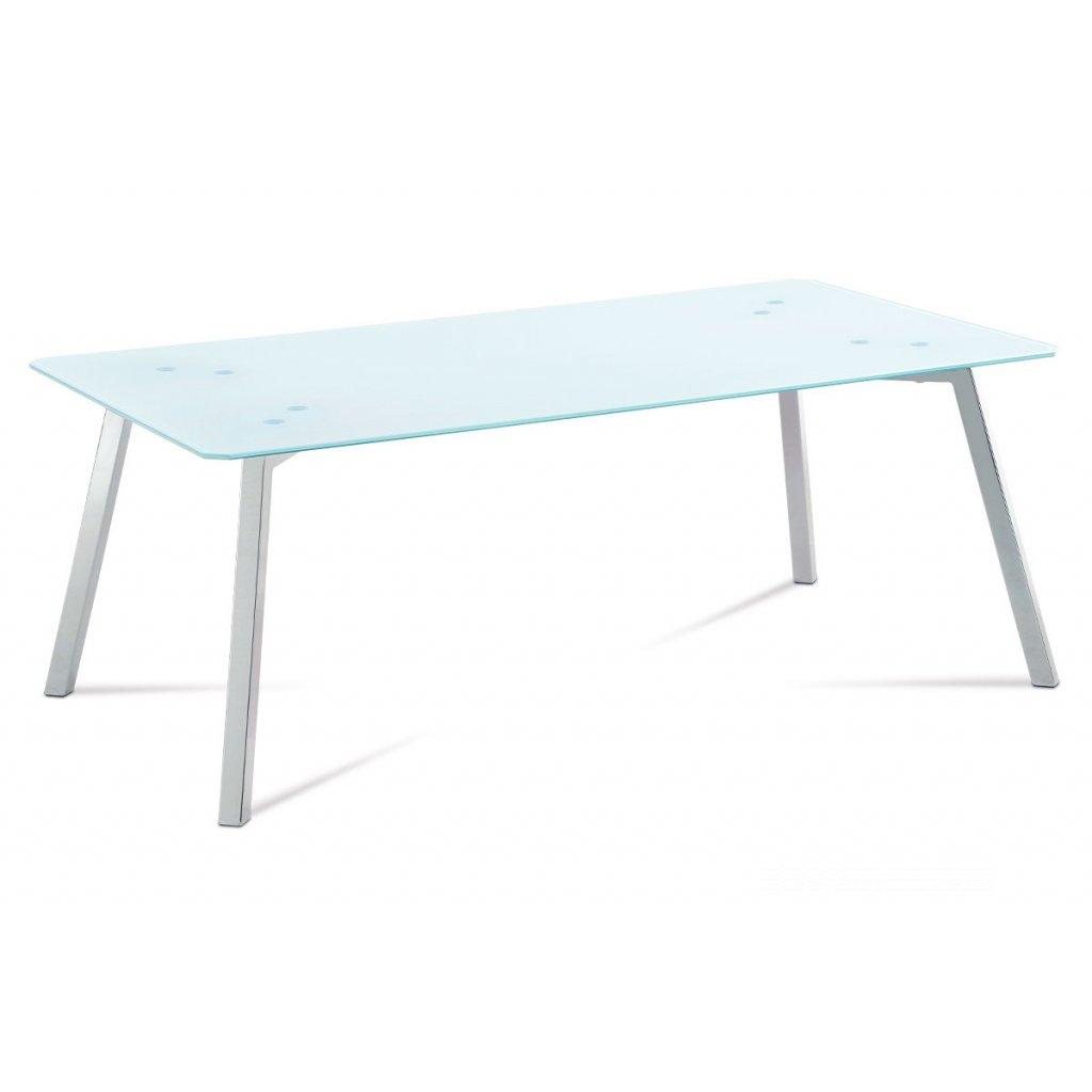 konferenčný stolík 120x65x45, 8mm sklo biele/chróm