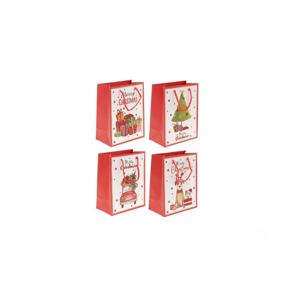 Taška darčeková papierová, vianočný motív, mix 4 druhov, cena za 1 kus 26x12x32cm