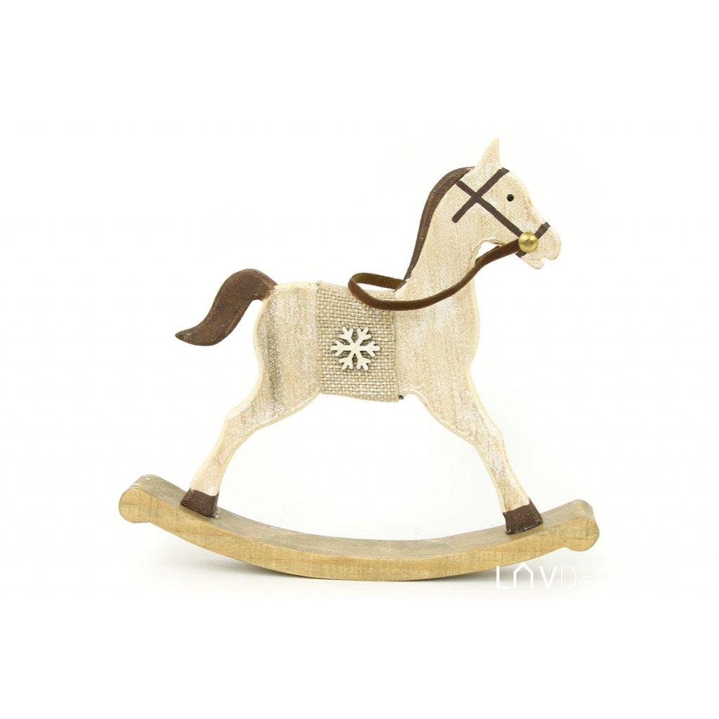 Drevený koník, s vločkou vianočná dekorácia 17,5x16x2,7cm
