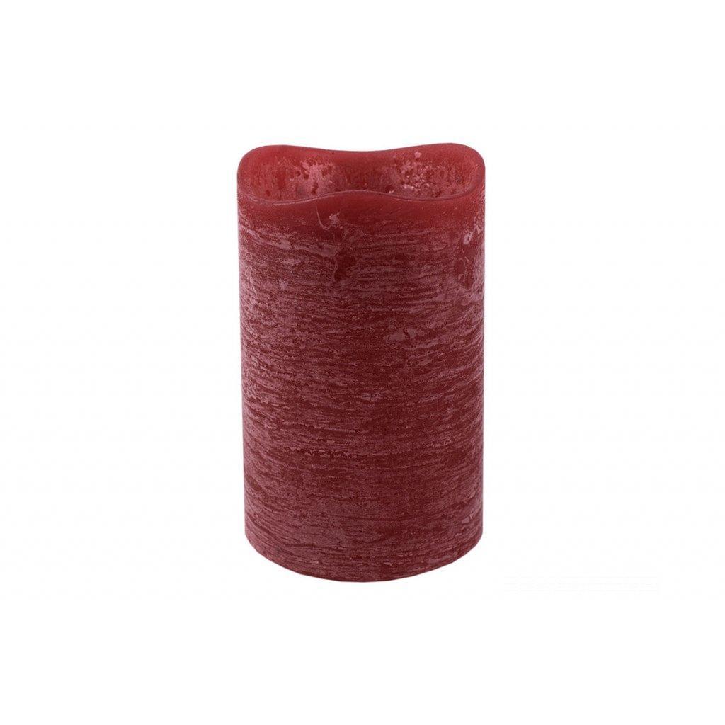 sviečka  s LED svetlom, farba červená vosková pr.8x12cm