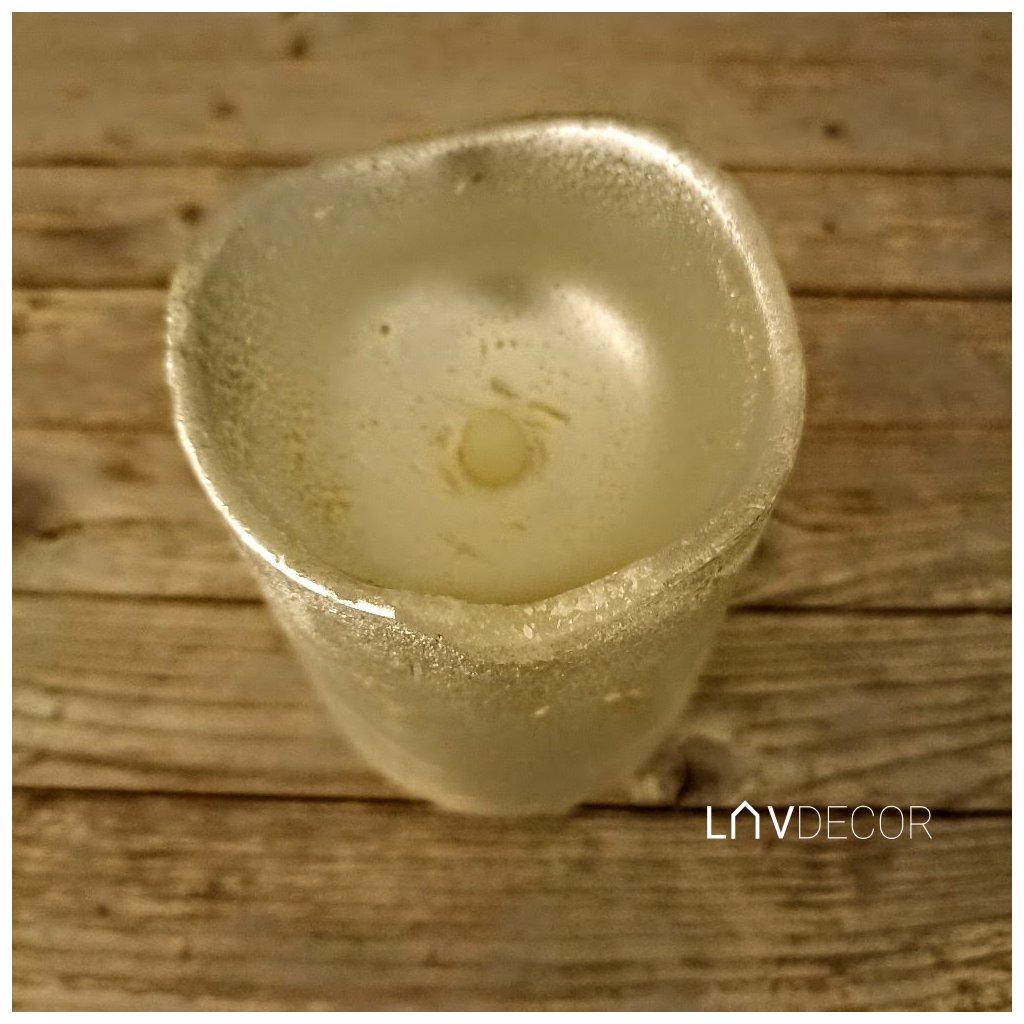 sviečka s LED svetlom, farba krémová vosková 8x12cm