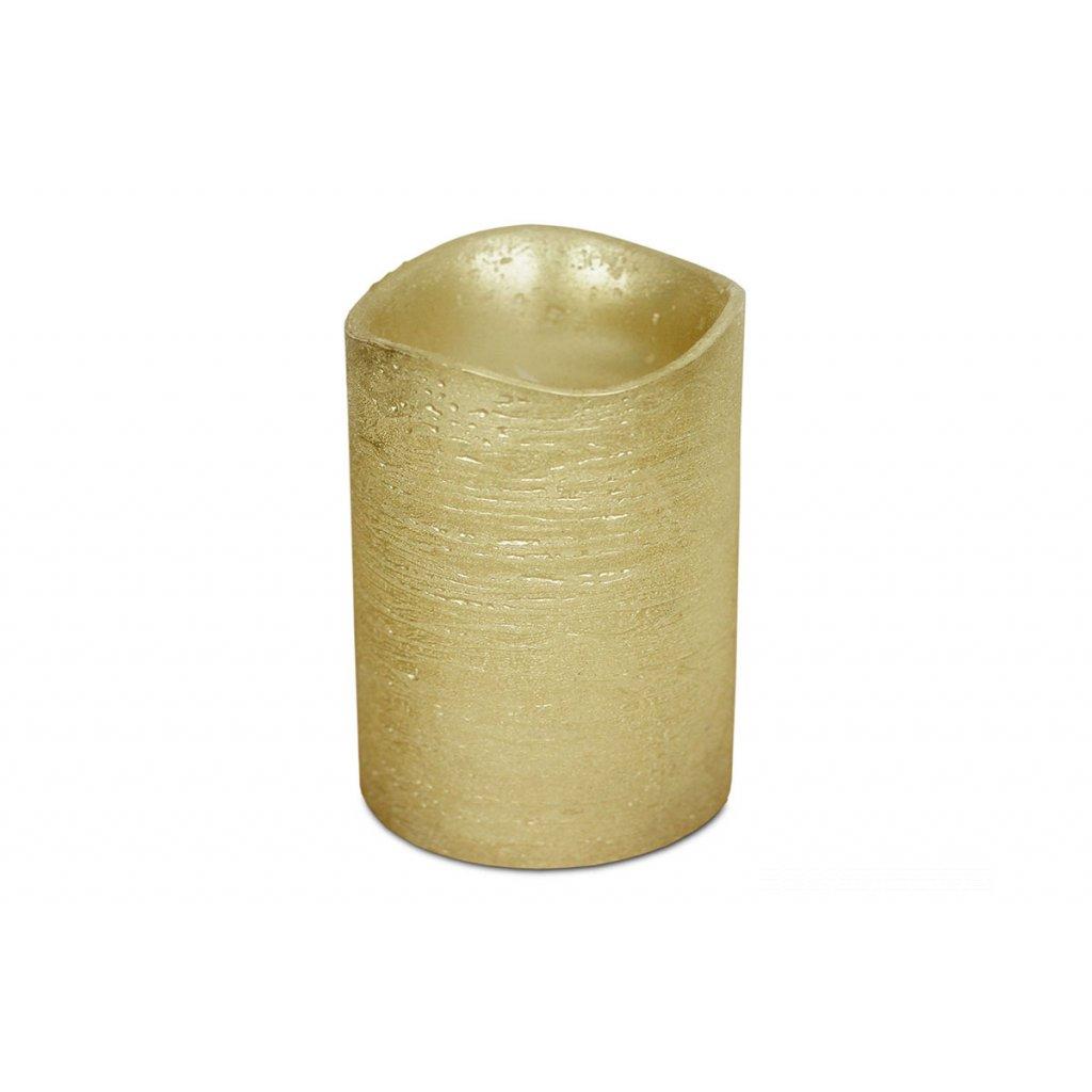 sviečka s LED svetlom, farba  zlatá metalická vosková pr.8x10cm