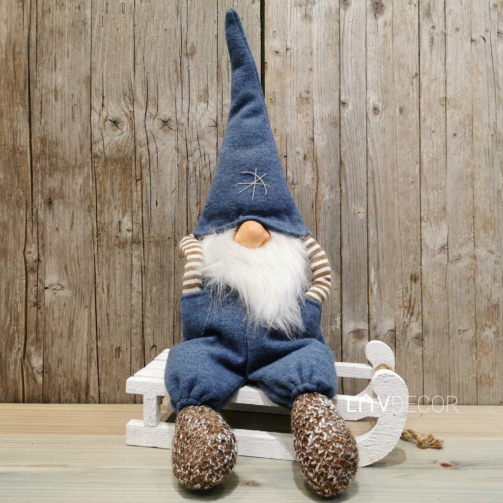 vianočný škriatok sediaci modrý latkový 55cm