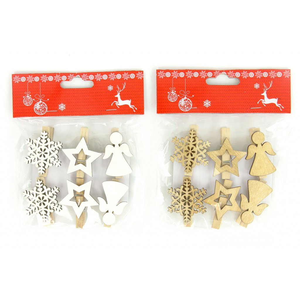 Vločka, hviezdička a anjelik, vianočná drevená dekorácia na štipci sadá