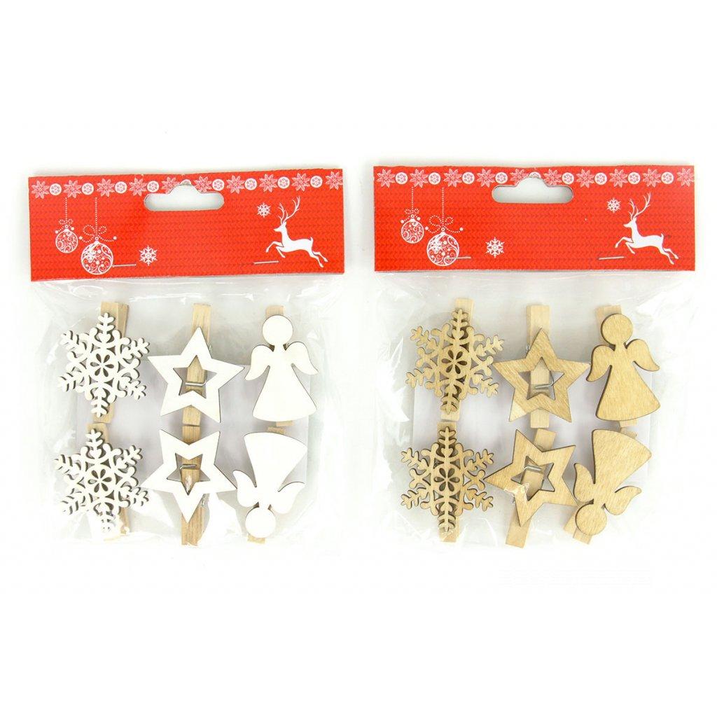 Vločka, hviezdička vianočná drevená natural dekorácia na štipci sadá