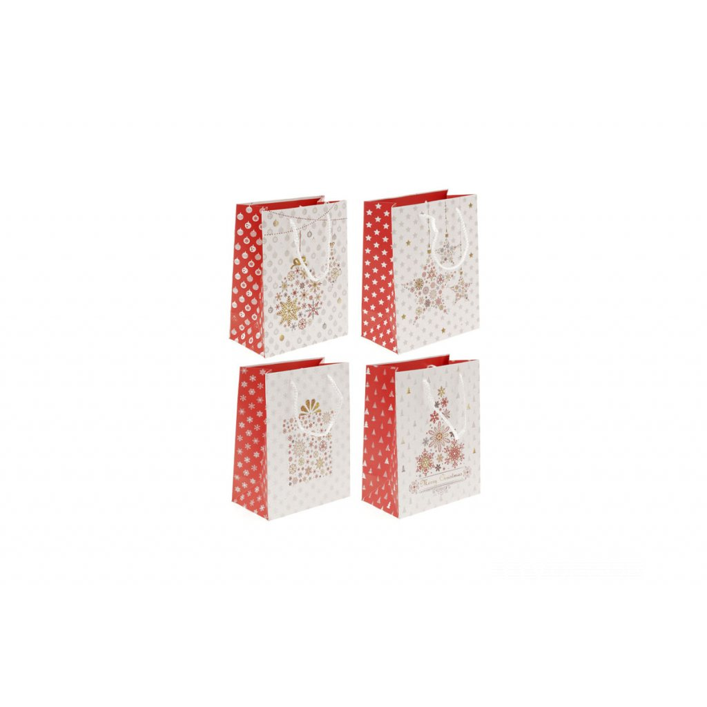 Taška papierová darčeková, vianočný motív, mix 4 druhov, cena za 1 kus 18x10x23cm