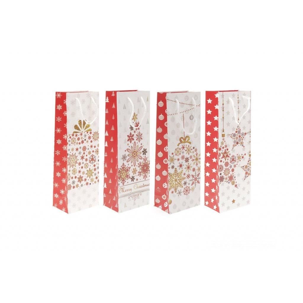 Taška darčeková papierová, vianočný motív, na víno, mix 4 druhov, cena za 1 kus