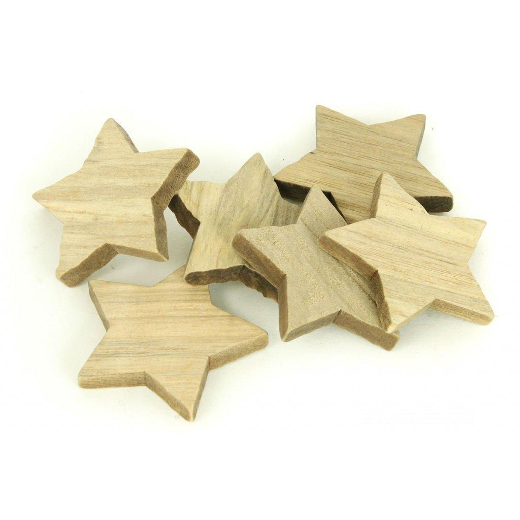 Hviezdička prírodná  drevená dekorácia cena za 1KS 5cm