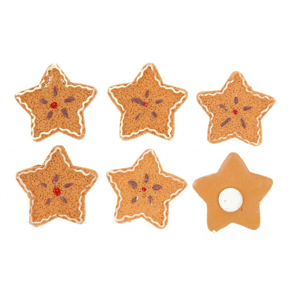 Hviezdička perníková na prilepenie polyresin  cena za 1ks  3,4x0,6x3,4cm