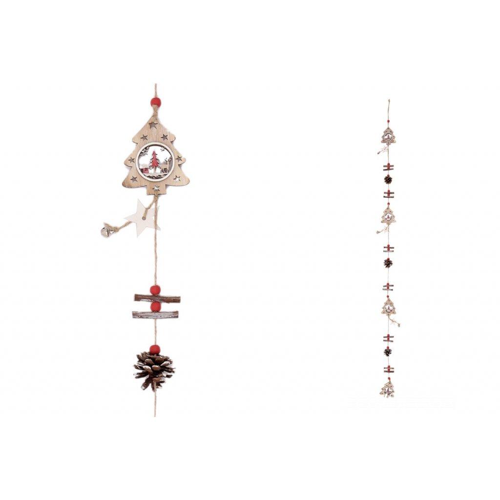 Vianočná girlanda s drevenými dekoráciami, stromčeky a šišky 7x130x0,2cm