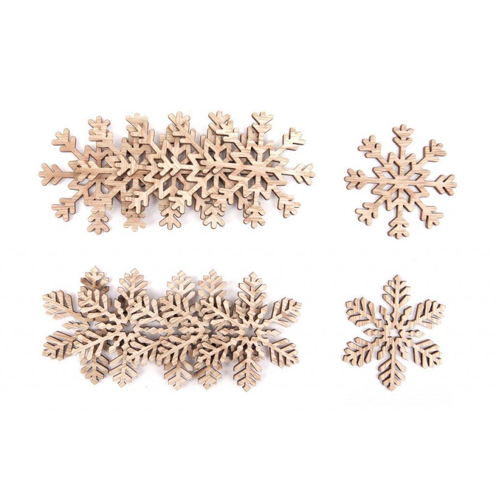 Snehová vločka, drevená vianočná dekorácia cena za 1ks