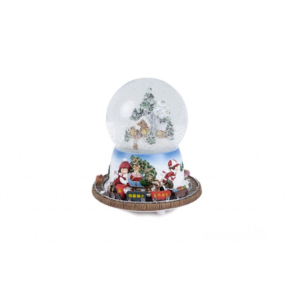Vianočná polyresinová dekorácia, naťahuje sa na kľúčik, točí sa a hrá