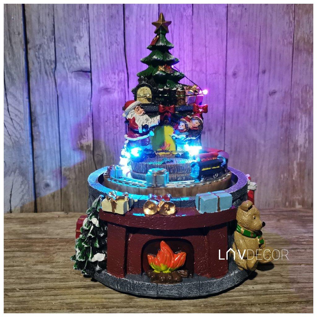 Vianočná hudobná led dekorácia, na batérie, svieti, točí sa a hrá 17x16,5x21,3 cm