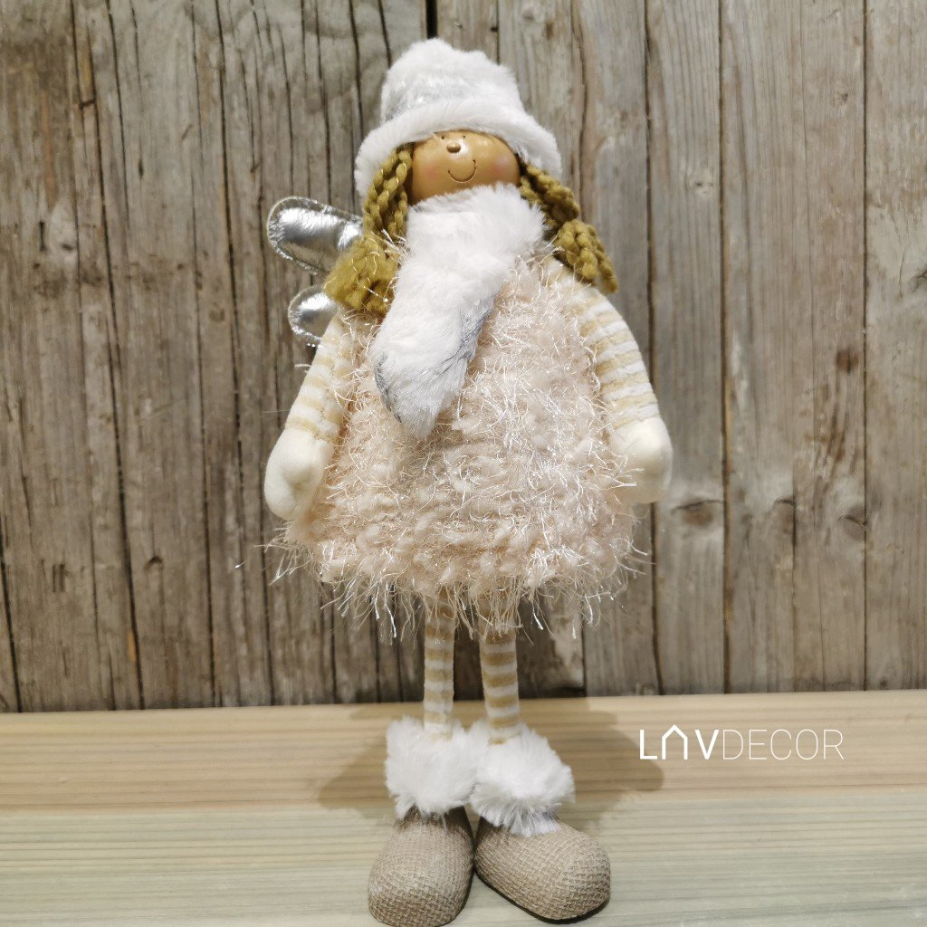Anjelka, textilná dekorácia, farba krémová