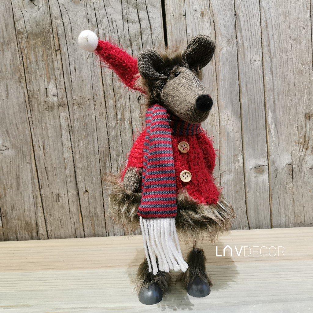 Myš, textilná dekorácia červená 15x40x15 cm