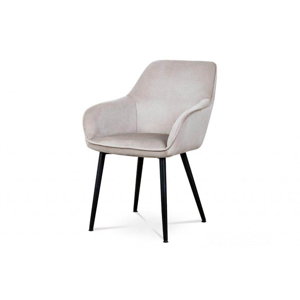 Jedálenská a konferenčná stolička, poťah lanýžová menčestrová látka, kovové nohy - čierny lak
