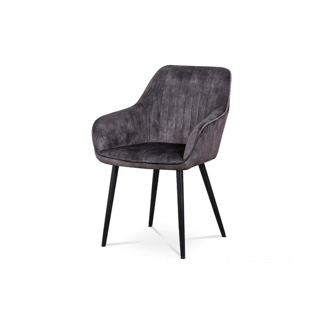 Jedálenská a konferenčná stolička, poťah čierna látka v dekore žíhaného zamatu, kovové nohy - čierny lak