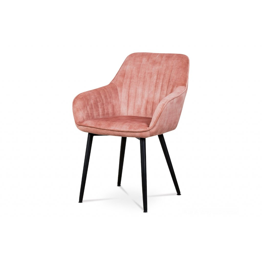 Jedálenská a konferenčná stolička, poťah ružová látka v dekore žíhaného zamatu, kovové nohy - čierny lak