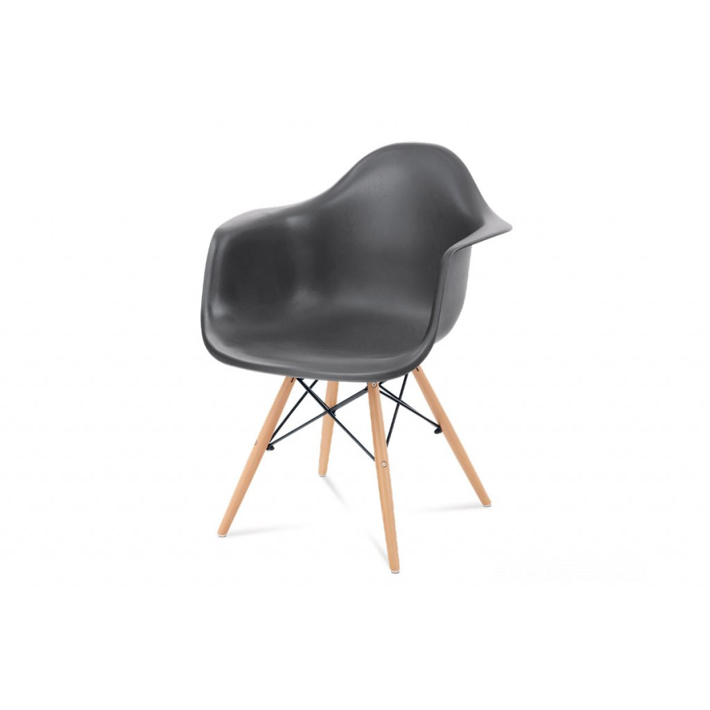 jedálenská stolička, tmavosivý plast, masív buk, prírodný odtieň,