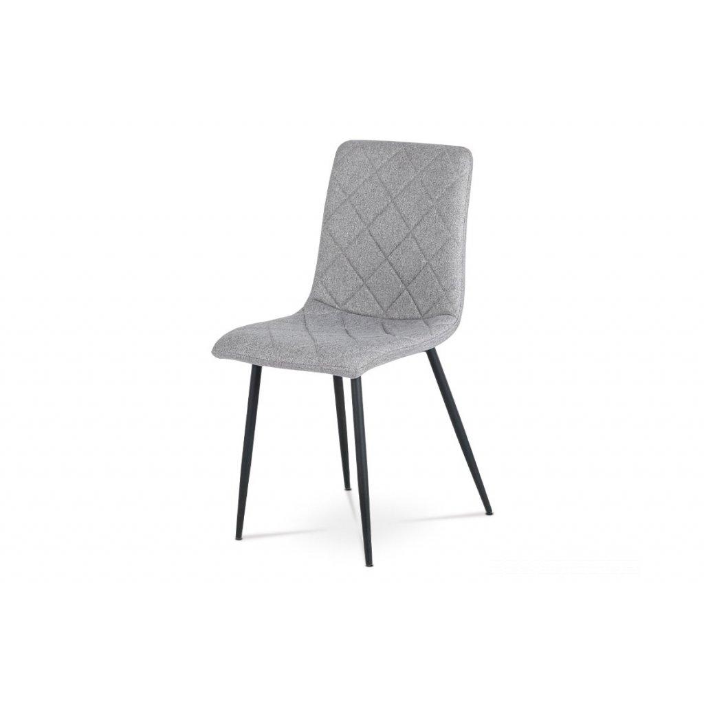 jedálenská stolička, poťah sivá látka, kovové nohy - čierny lak