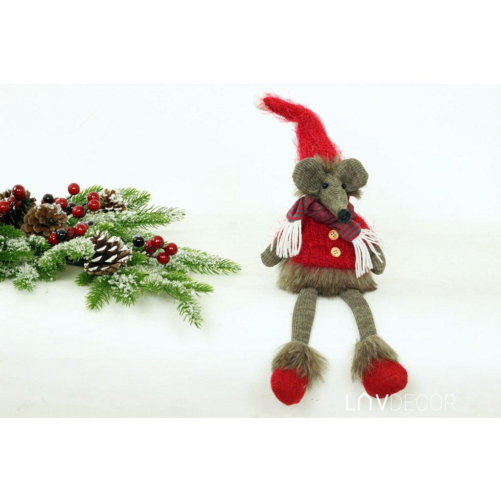 Myš so šálikom sedia textilná dekorácia 10x40x9 cm